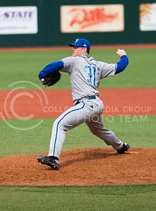 Junior pitcher for Eastern Illinois Dustin Wilson pitches during the K-State baseball game against Eastern Illisnois University at Tointon Family Stadium on Mar. 5, 2017. (John Benfer | The Collegian)