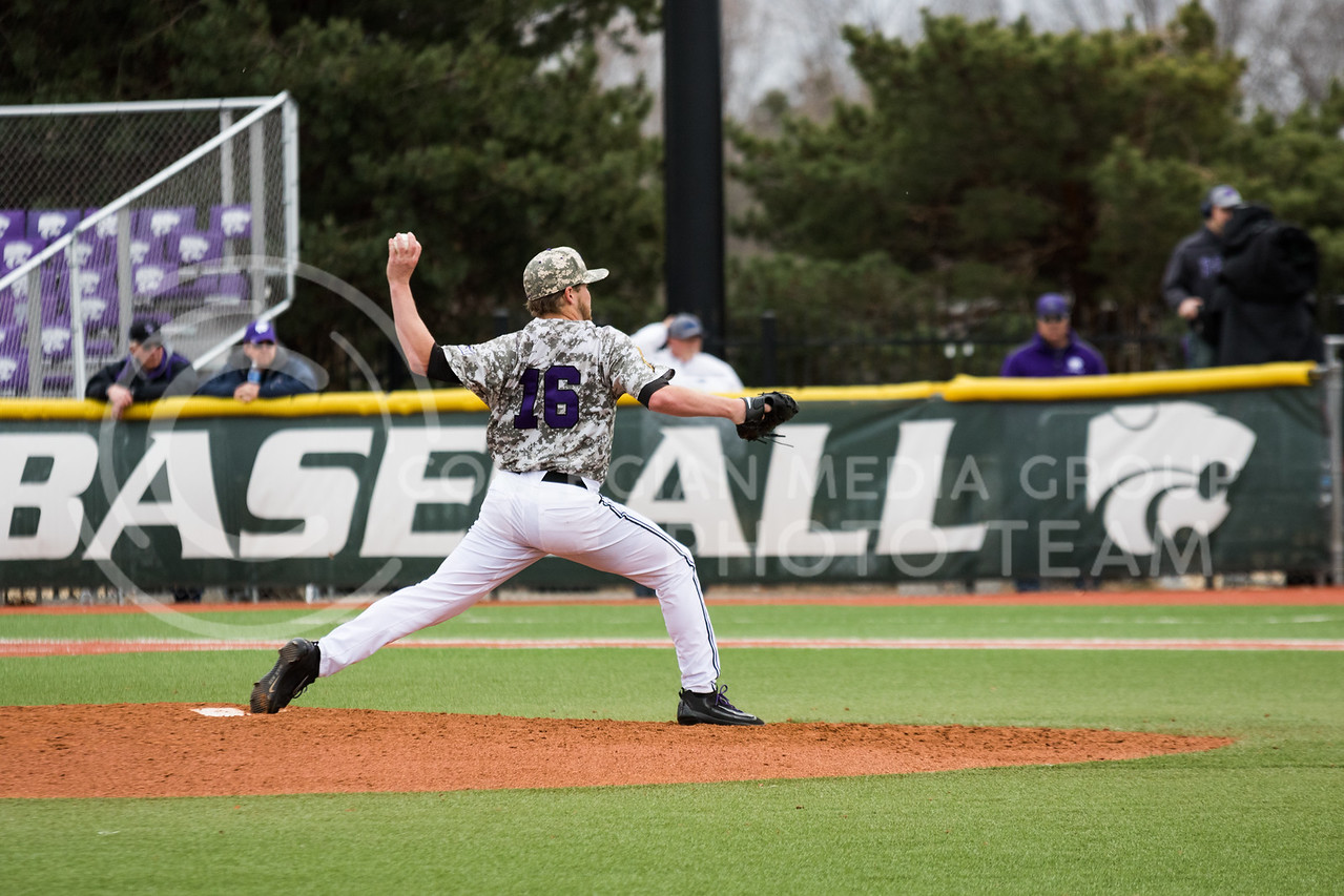 Senior pitcher Parker Rigler pitches at the K-State baseball game against Eastern Illisnois University at Tointon Family Stadium on Mar. 5, 2017. (John Benfer | The Collegian)