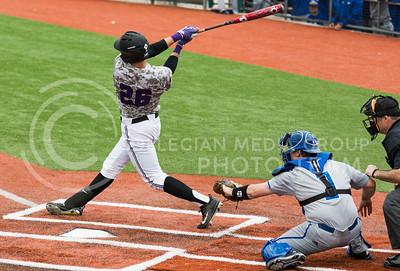 Junior outfielder Hanz Harker bats during the K-State baseball game against Eastern Illisnois University at Tointon Family Stadium on Mar. 5, 2017. (John Benfer | The Collegian)