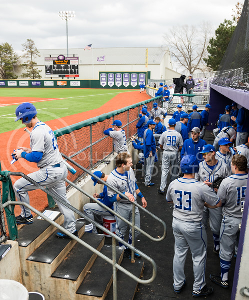 Eastern Illinois players stand in their dugout during the K-State baseball game against Eastern Illisnois University at Tointon Family Stadium on Mar. 5, 2017. (John Benfer | The Collegian)