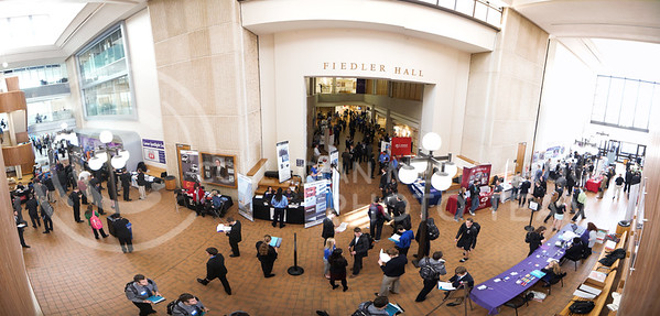 Panoramic image of the Engineer Career Fair  in Fiedler Hall on Feb. 8, 2017. (Nathan Jones | The Collegian)
