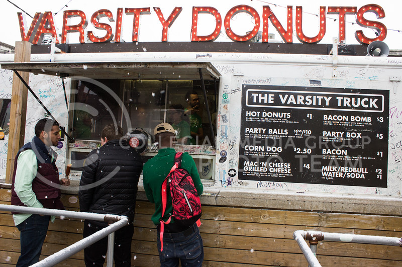 The Varsity truck was open all day on Fake Patty's Day, even through the snow in the morning. (Regan Tokos | The Royal Purple)