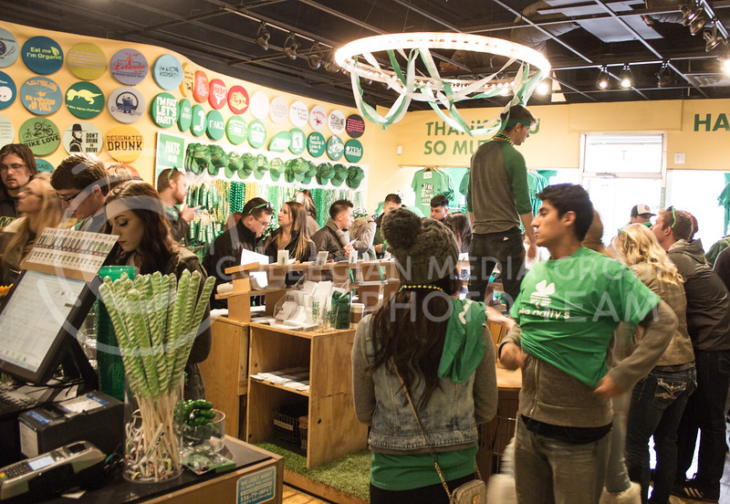 Threads was packed with people the morning of Fake Patty's Day with people purchasing memorabilia of the 10th annual event. (Regan Tokos | The Royal Purple)
