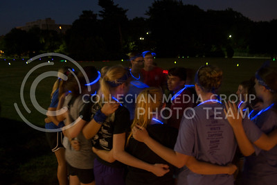Blue team was in high spirits as they began to chant in a circle. (Sarah Falcon | The Collegian)