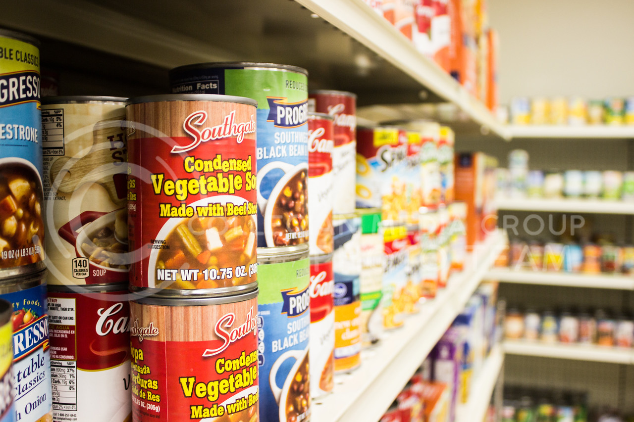 Stocked shelves at the grand opening of Cat's Cupboard, the new campus food pantry on Oct. 16. (Regan Tokos | Collegian Media Group)