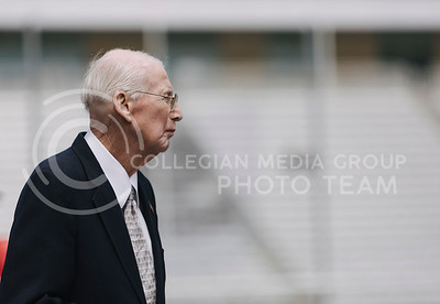 Head football coach Bill Snyder looks to the field during the spring game in Bill Snyder Family Stadium on April 22, 2017. (Emily Starkey | The Collegian)