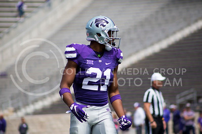 Player waits for the play during the spring game in Bill Snyder Family Stadium on Apr. 22, 2017 (Maddie Domnick | The Collegian)