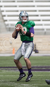 Freshman quarterback Skylar Thompson prepares to throw the ball during the Spring Game in Bill Snyder Family Stadium on Apr. 22, 2017. (Nathan Jones | The Collegian)