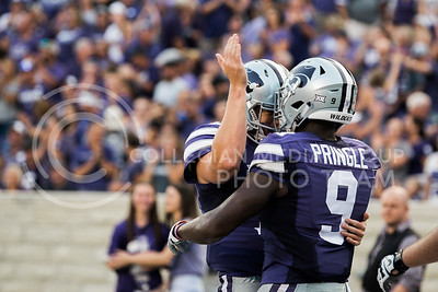Sophomore wide receiver Byron Pringle celebrates with a teammate after getting a touchdown during the game between K-State and Central Arkansas in Bill Snyder Family Stadium on Sept. 2, 2017. (Meg Shearer | Collegian Media Group)