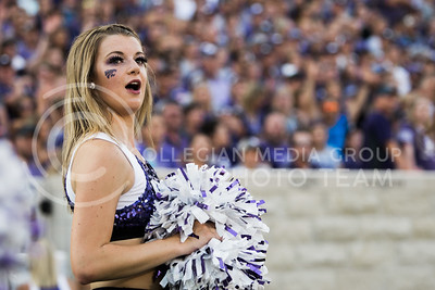 K-State cheerleader, Maggie Kohlrus, cheers on the cats during the game between K-State and Central Arkansas in Bill Snyder Family Stadium on Sept. 2, 2017. (Meg Shearer | Collegian Media Group)