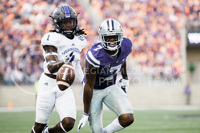 Sophomore wide receiver Isaiah Zuber fails to catch the ball during a pass during the game between K-State and Central Arkansas in Bill Snyder Family Stadium on Sept. 2, 2017. (Meg Shearer | Collegian Media Group)