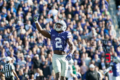 Sophomore defensive back D.J. Reed celebrates after a tackle against Kansas during the Wildcats' game Nov. 26, 2016, in Bill Snyder Family Stadium. The Wildcats won 34-19. (Evert Nelson | The Collegian)