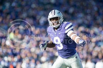 Sophomore wide receiver Byron Pringle yells to teammates before a play against KU during the Sunflower Showdown in Bill Snyder Family Stadium on Nov. 26, 2016. The Cats won 34-19. (Evert Nelson | The Collegian)