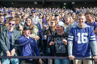 K-State fans dance in the student section during the Sunflower Showdown on Nov. 26, 2016, in Bill Snyder Family Stadium. (Evert Nelson | The Collegian)