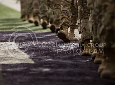 Soldiers march off the field before the K-State game against Oklahoma State in Bill Snyder Family Stadium on Nov. 5, 2016. (Emily Starkey | The Collegian)