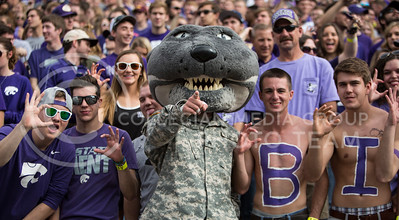 Willie the Wildcat interacts with the student section during the football game between K-State and Oklahoma State in Bill Snyder Family Stadium on Nov. 5, 2016. (Emily Starkey | The Collegian)