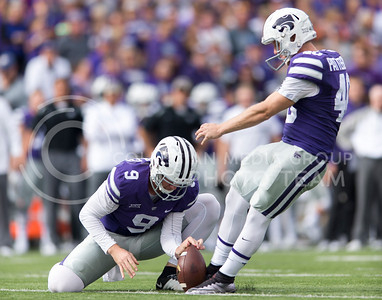 Senior kicker Ian Patterson kicks during the game between K-State and Oklahoma State in Bill Snyder Family Stadium on Nov. 5, 2016. (George Walker | The Collegian)