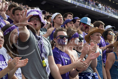 K-State fans cheer in the student section on Nov. 5, 2016, during the football game against Oklahoma State in Bill Snyder Family Stadium. (Abby Cambiano | The Collegian)