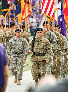 Soldiers march off the field before the K-State football game against Oklahoma State in Bill Snyder Family Stadium on Nov. 5, 2016. (John Benfer | The Collegian)