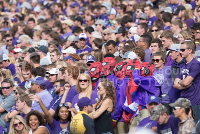 Four K-State fans dressed as Spiderman and Bill Snyder during the game between K-State and Oklahoma State in Bill Snyder Family Stadium on Nov. 5, 2016. (George Walker | The Collegian)