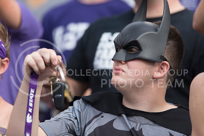 A K-State dressed as Batman fan jingles his keys during the game between K-State and Oklahoma State in Bill Snyder Family Stadium on Nov. 5, 2016. (George Walker | The Collegian)