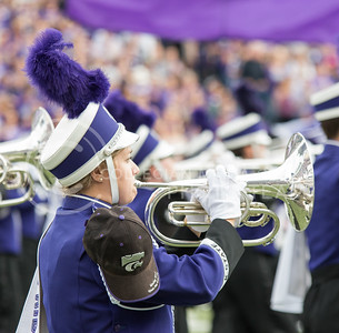 A K-State band member plays during the pregame show of the K-State football game against Oklahoma State in Bill Snyder Family Stadium on Nov. 5, 2016. (John Benfer | The Collegian)