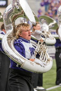 A K-State marching band member performs during their pregame performance at the Oklahoma State and Kansas State football game in Bill Snyder Family Stadium on November 5th, 2016. (John Benfer | The Collegian)