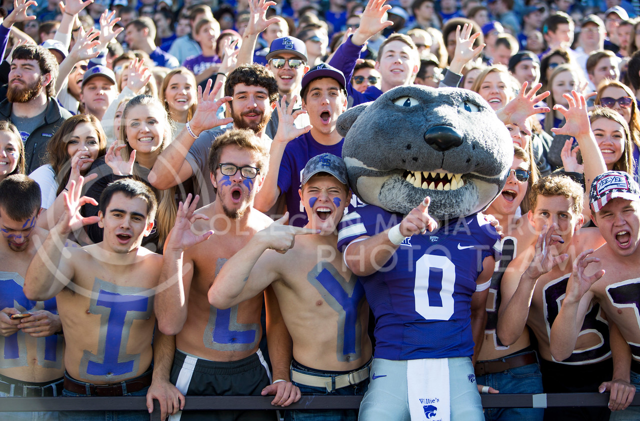 Willie the Wildcat interacts with fans during the football game between K-State and Texas in Bill Snyder Family Stadium on Oct. 22, 2016. (Emily Starkey   The Collegian)