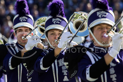 The K-State marching band performs before kickoff of the football game between K-State and Texas in Bill Snyder Family Stadium on Oct. 22, 2016. (Sabrina Cline | The Collegian)