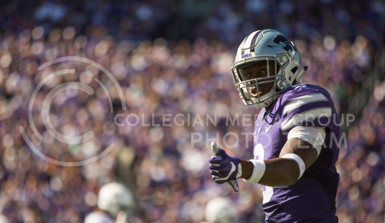 Sophomore wide receiver Byron Pringle  checks to see if he is on the line of scrimmage  during the football game between K-State and Texas in Bill Snyder Family Stadium on Oct. 22, 2016. (Emily Starkey   The Collegian)