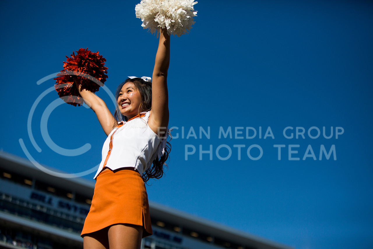 A  Texas cheerleader cheers during the football game between K-State and Texas in Bill Snyder Family Stadium on Oct. 22, 2016. (Emily Starkey | The Collegian)