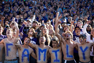 "Kansas State fans sing the ""Alma Mater"" at the start of the football game between K-State and Texas in Bill Snyder Family Stadium on Oct. 22, 2016. (Emily Starkey 