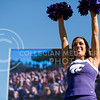 A K-State cheerleader cheers during the football game between K-State and Texas in Bill Snyder Family Stadium on Oct. 22, 2016. (Emily Starkey | The Collegian)