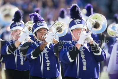 The K-State marching band performs before kickoff of the football game between K-State and Texas in Bill Snyder Family Stadium on Oct. 22, 2016. (Meg Shearer | The Collegian)