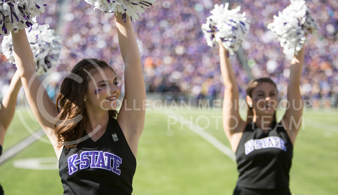 A Kansas State Classy Cat performs during the football game between K-State and Texas in Bill Snyder Family Stadium on Oct. 22, 2016. (Emily Starkey | The Collegian)