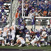 Kansas State defensive players try to block a field goal attempt during the football game between K-State and Texas in Bill Snyder Family Stadium on Oct. 22, 2016. (Emily Starkey | The Collegian)