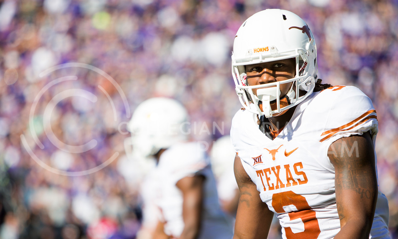Texas wide receiver Armanti Foreman looks toward the sideline during the football game between K-State and Texas in Bill Snyder Family Stadium on Oct. 22, 2016. (Emily Starkey   The Collegian)