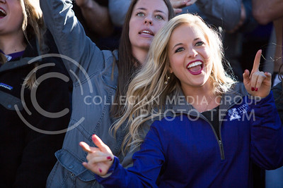 A K-State fan wabashes at the start of the football game between K-State and Texas in Bill Snyder Family Stadium on Oct. 22, 2016. (Emily Starkey | The Collegian)