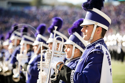 The K-State marching band performs the pregame show of the football game between K-State and Texas in Bill Snyder Family Stadium on Oct. 22, 2016. (Emily Starkey | The Collegian)