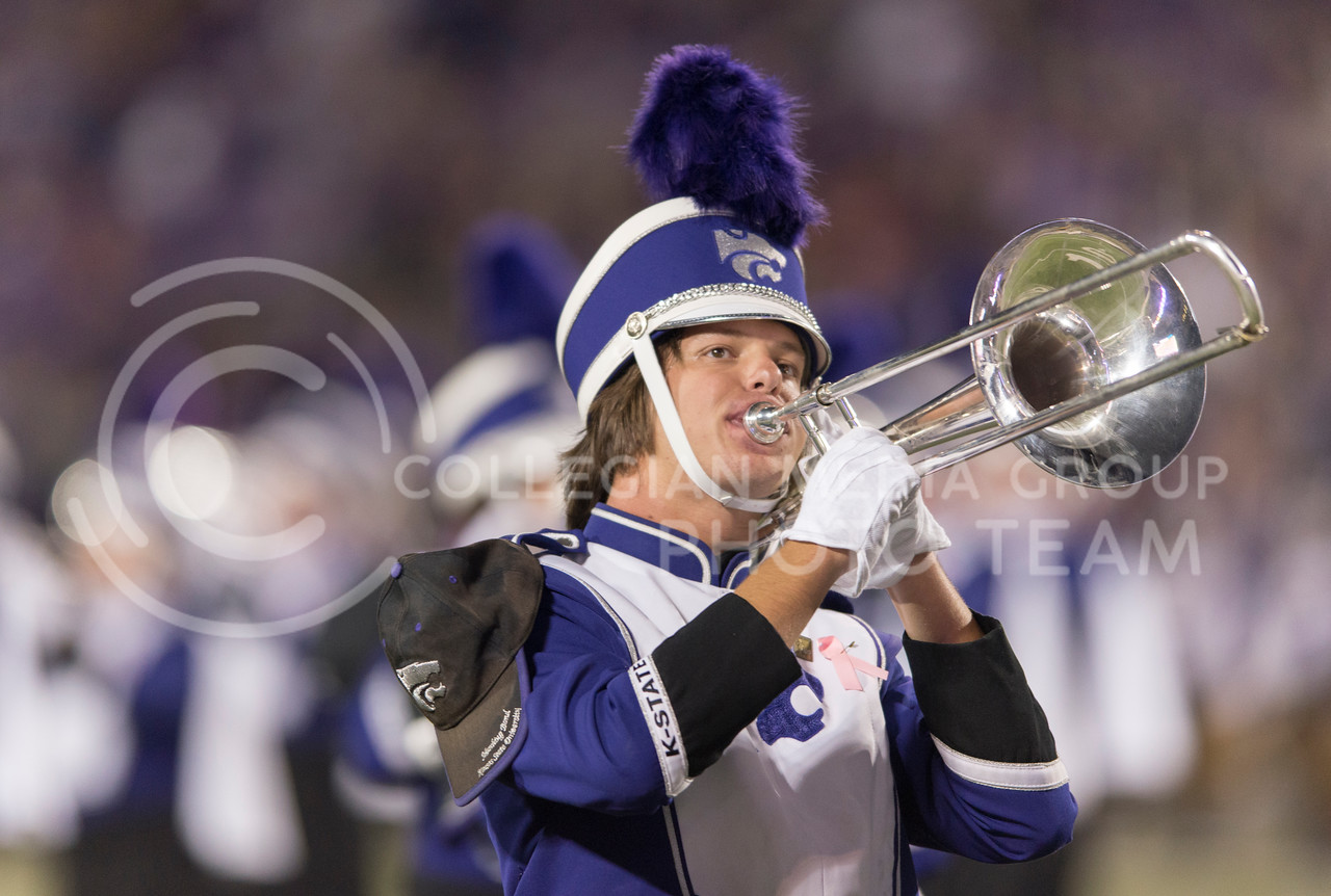 A K-State Marching Band member performs during the halftime of the game between K-State and Texas Tech on Oct. 8, 2016, in Bill Snyder Family Stadium. (George Walker | The Collegian)