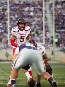 Texas Tech quarterback Patrick Mahomes calls for the ball to be snapped during the football game between K-State and TTU on Oct. 8, 2016, in Bill Snyder Family Stadium. (Emily Starkey | The Collegian)