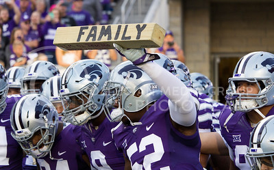 The K-State football team prepares to run onto the field at the game between K-State and Texas Tech in Bill Snyder Family Stadium on Oct. 8, 2016. (Hallie Lucas | The Collegian)