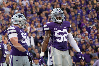 Senior linebacker Charmeachealle Moore waits for a call from a referee at the game between K-State and Texas Tech in Bill Snyder Family Stadium on Oct. 8, 2016. (Hallie Lucas   The Collegian)