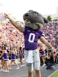 Willie the Wildcat gets the crowd ready at the game between K-State and Texas Tech in Bill Snyder Family Stadium on Oct. 8, 2016. (Hallie Lucas | The Collegian)