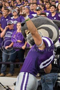 Willie the Wildcat celebrates a touchdown during the game between K-State and Texas Tech in Bill Snyder Family Stadium on Oct. 8, 2016. (Hallie Lucas | The Collegian)