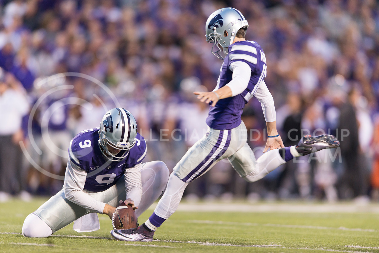 Junior kicker Matthew McCrane kicks an extra point during the game between K-State and Texas Tech on Oct. 8, 2016, in Bill Snyder Family Stadium. (George Walker | The Collegian)