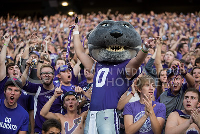 Willie the Wildcat waves keys in the student section at kickoff of the football game between K-State and Texas Tech on Oct. 8, 2016, in Bill Snyder Family Stadium. (Emily Starkey | The Collegian)