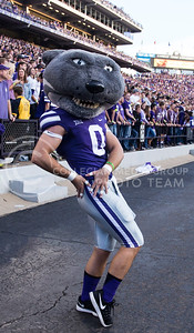 Willie the Wildcat poses during the K-State against Texas Tech football game  in Bill Snyder Family Stadium on Oct. 8, 2016. (Anna Spexarth | The Collegian)