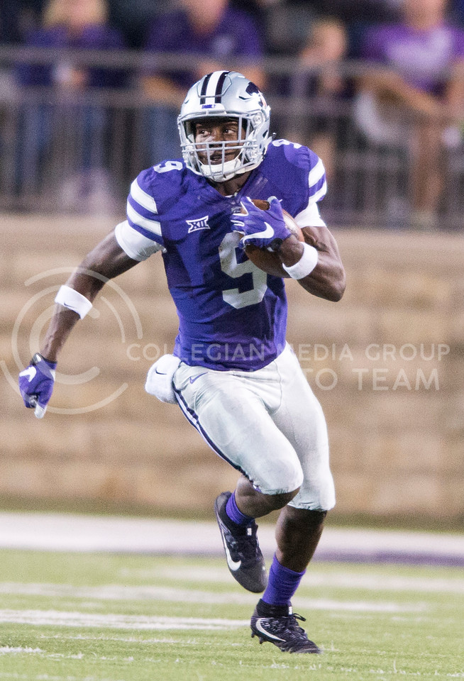 Sophomore wide receiver Byron Pringle returns the ball during the game between K-State and Texas Tech on Oct. 8, 2016, in Bill Snyder Family Stadium. (George Walker | The Collegian)