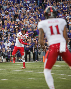 Texas Tech quarterback Patrick Mahomes II throws the ball to wide receiver Derrick Willies during the football game between K-State and TTU on Oct. 8, 2016, in Bill Snyder Family Stadium. (Emily Starkey | The Collegian)